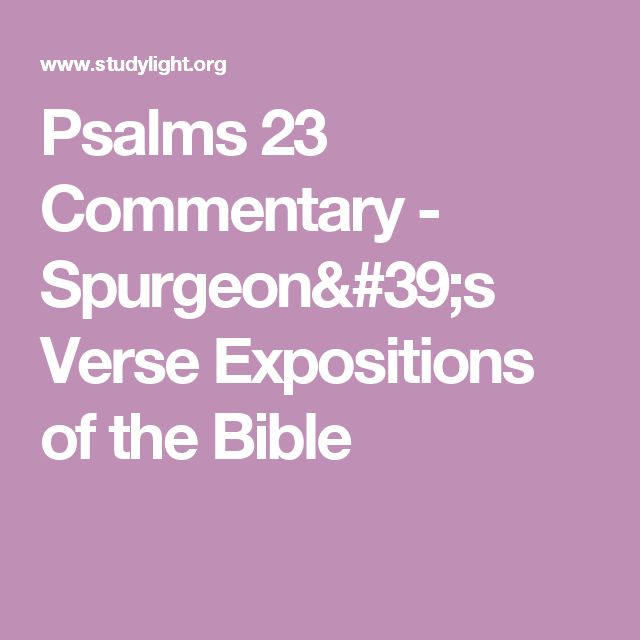 Psalms 23 Commentary - Spurgeon's Verse Expositions of the Bible
