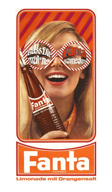 "Something to the effect of ""take your time and taste Fanta""? This ad sells the feeling that Fanta wants you to feel when you drink their pop - lively and happy! The color scheme represents the color of the soda, and the girl - in all her 'Fear and Loathing' glory - is smiley and holding her Fanta like she loves it."