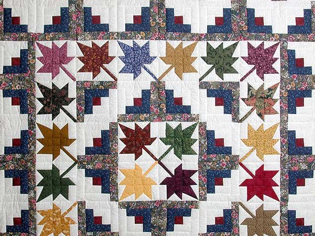 Autumn Splendor Log Cabin Quilt -- wonderful specially made Amish Quilts from Lancaster (hs359)