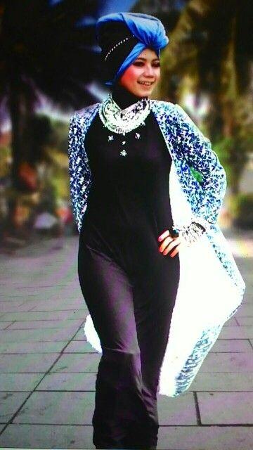 Dress etnik+cardigan panjang
