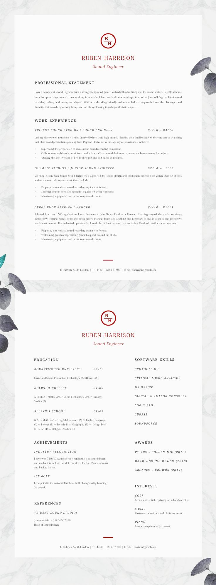 modern and minimalistic cv template