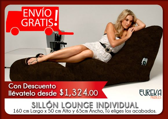 SILLÓN LOUNGE INDIVIDUAL desde $1,324.00 MXN  http://www.eurekamuebles.com.mx/sofa-camas/puffs/sillon-lounge-individual.html