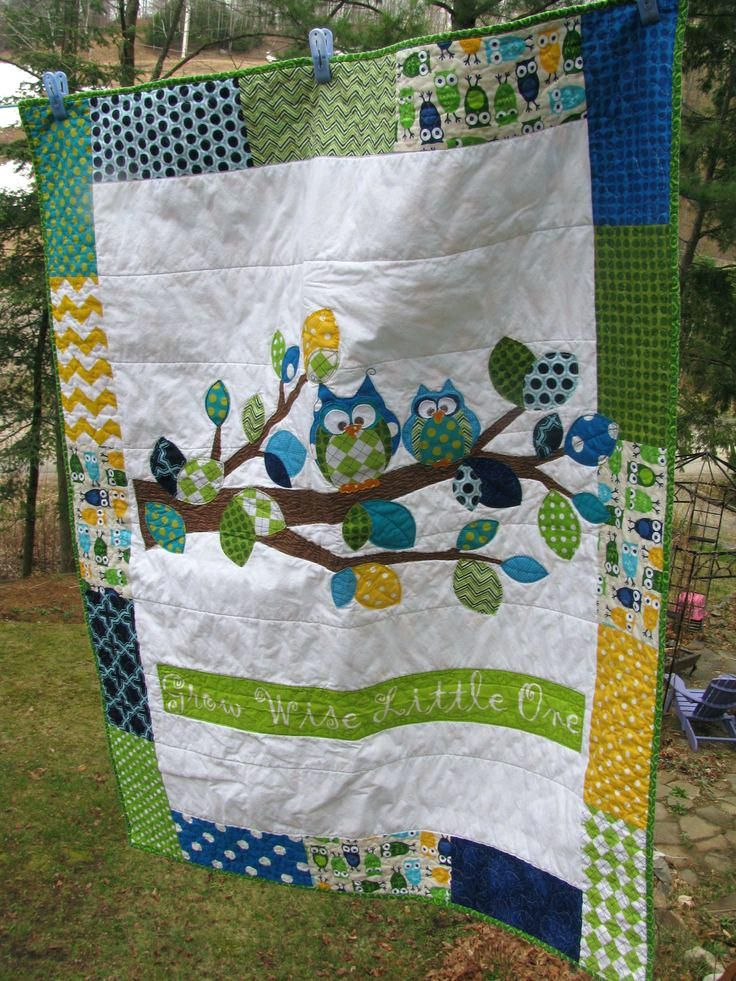 Owl Baby Quilts For Sale Baby Applique Quilts Applique Owl Baby Quilt Of Flannel Cotton In Turquoise Royal Owl Baby Quilt Panel Owl Baby Quilt Fabric