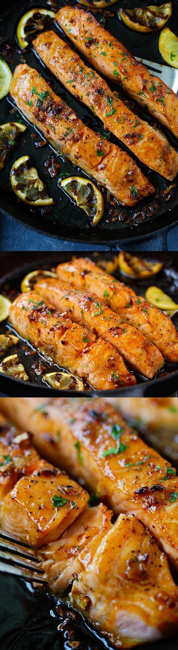Honey Garlic Salmon - Delicious garlicky, sweet and sticky salmon with simple ingredients. Only takes 20 minutes!