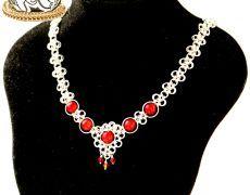 """Phoenix"" - Colier din zale argintate, coral și cristale Swarovski"