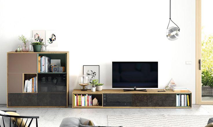Composición moderna. Mueble para tv.  Roble nudoso, turquesa y pizarra y taupe.