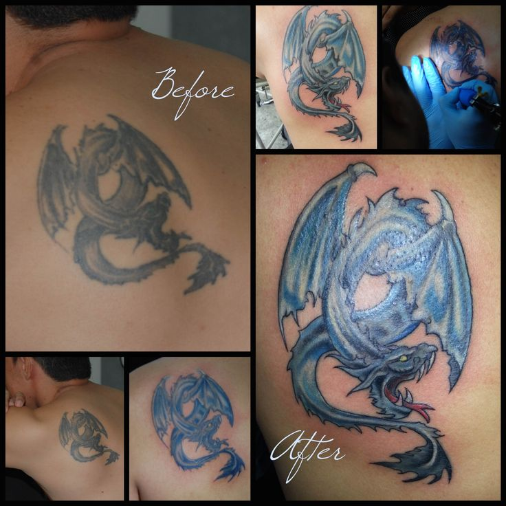 Remade of Dragon´s tattoo in colors made by other artist and touch up by Tattooist Castro , una nueva vida para un tattoo de dragón realizado por otro artista y reparado por tattooist castro