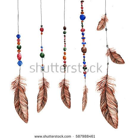 feathers, hanging on strings with colorful beads - hand painted watercolor. It can be used to create invitations, cards and other printing.