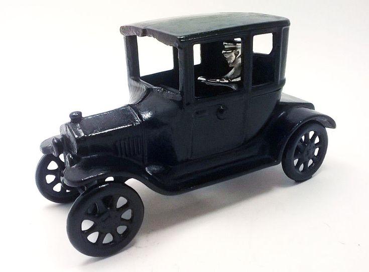 Vintage 1920s ARCADE Cast Iron Model T Ford Coupe Toy Car Antique - Black #Arcade