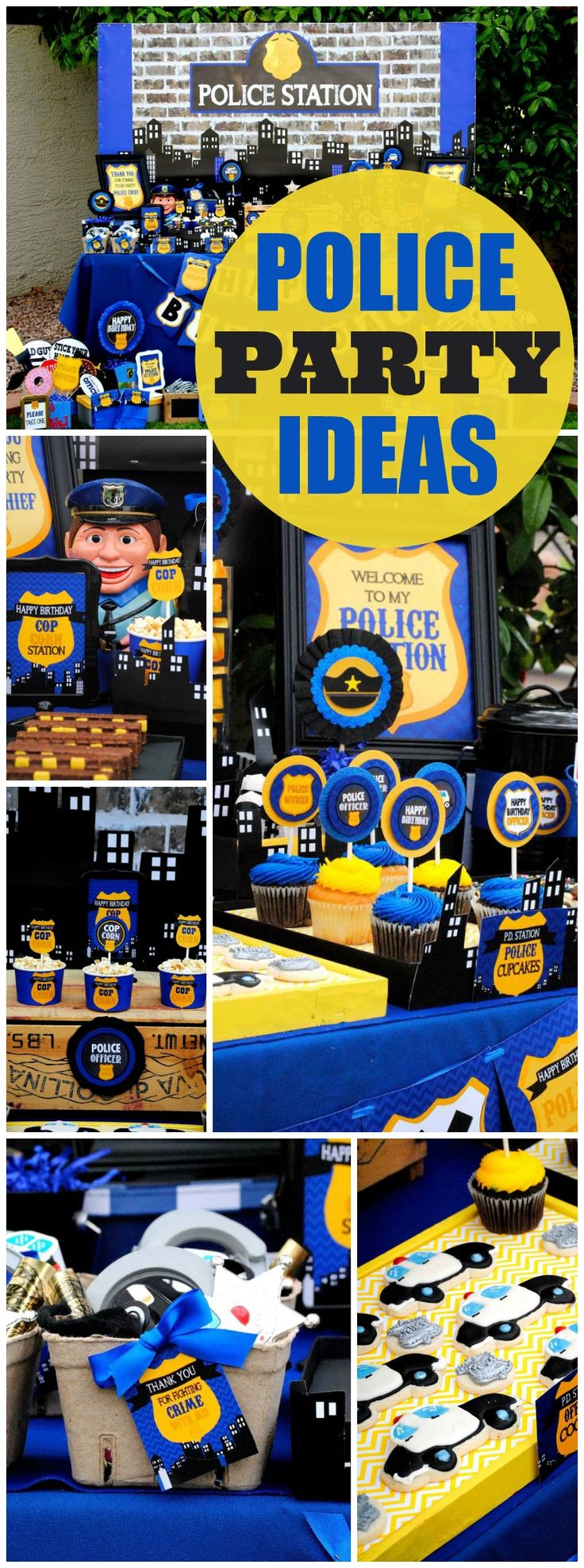 Such a fantastic policeman party in blue! See more party ideas at CatchMyParty.com!