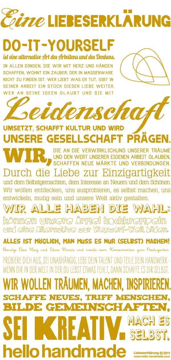 Eine Liebeserklärung/ manifesto – We love handmade