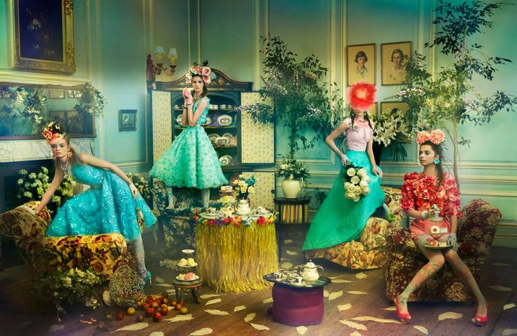 """Bloom quartet at tea   """"Welcome to the Hot House"""" by Ruven Afanador for Town & Country, April 2013"""