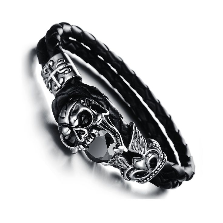 Post Included Aus Wide and to most international countries! >>>  Black Cubic Zirconia Skull Bracelet - Stainless Steel & Leather