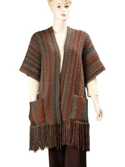 Indian Summer Ruana Crochet Pattern Pack - don't care for the fringe, but this is cool.