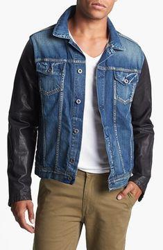 f32b03db8 Men's Fall Fashion: Scotch & Soda Denim Jacket with Leather Sleeves ...
