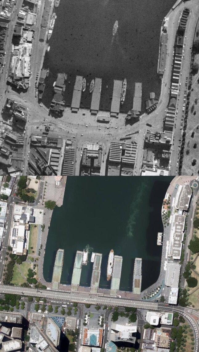 Aerial view of Circular Quay in 1943 and 2012. [Six Maps. By Phil Harvey]