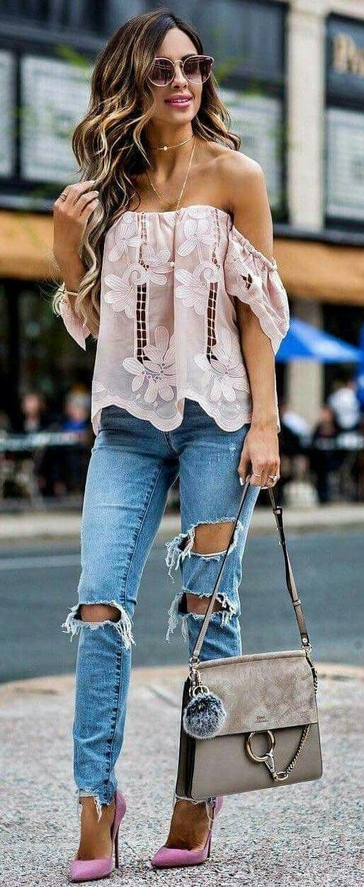 #winter #outfits women's white lace off-shoulder top, distressed blue fitted jeans, pink pointed toe heels outfit