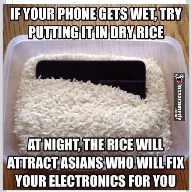 if your phone gets wet try putting it in dry rice at night the rice will attract asians who. Black Bedroom Furniture Sets. Home Design Ideas