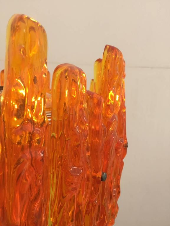 Orange Acrylic Icicle Chandelier in the Manner of Kalmar 5
