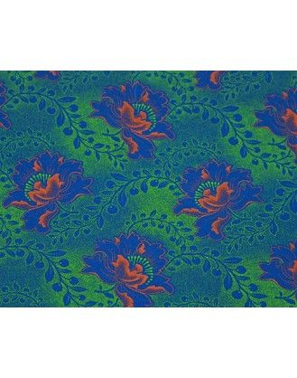 (Per Meter Price) Da Gama 3 Cats Shwe Shwe Fabric Code XH0528 cw 27 (Turquoise and Orange)