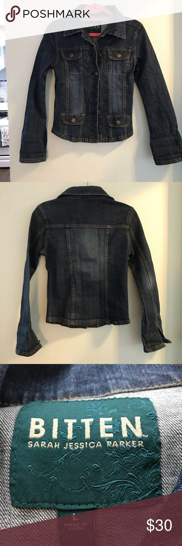 """Bitten By Sarah Jessica Parker denim jacket Adorable denim jacket in excellent condition. Says it's a large but fits like an XS.  Not sure if it is kids size, but I wore it and I'm 5'5"""" around 125lb and fit just perfect. SJP by Sarah Jessica Parker Jackets & Coats Jean Jackets"""