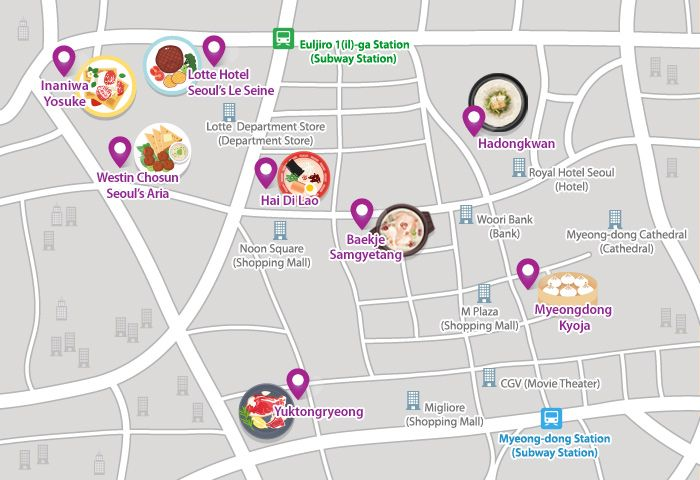 Photo: Map of the popular restaurants in Myeong-dong