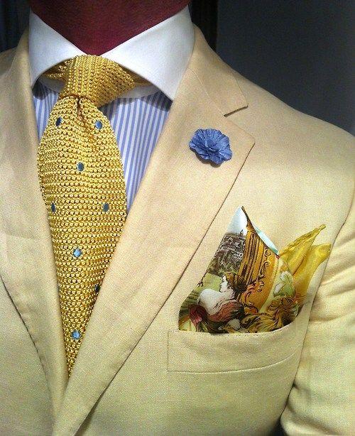 Khaki linen Purple Label by Ralph Lauren suit, MTM Van Laack shirt fitted by Lowet Tailors, knit tie Paul Stuart, silk pocket square Mariano Rubinacci & hook + ALBERT boutonnière