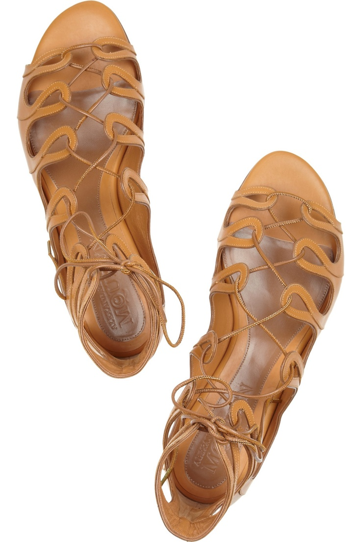Leather gladiator sandals by Alexander McQueen