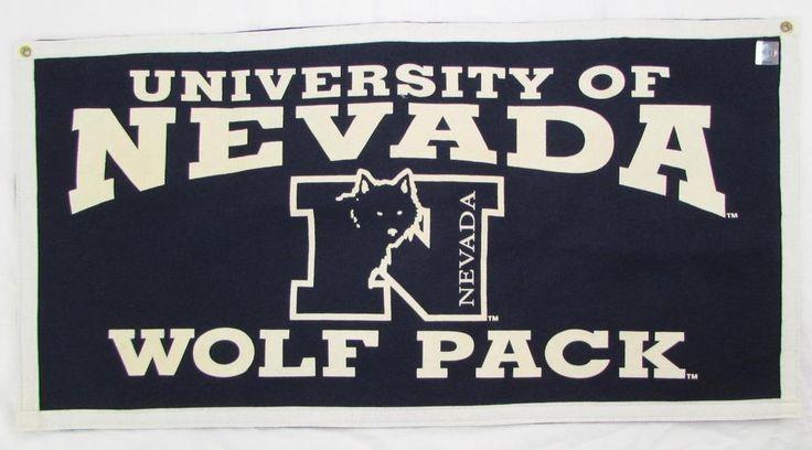 NCAA University of Nevada Wolf Pack Felt Flag Banner Metal Grommets 35 X 18 NWOT…