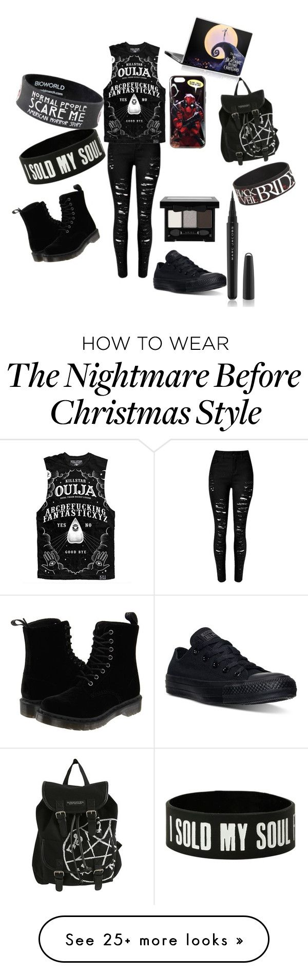 """""""turning to psycho"""" by brichsage on Polyvore featuring Converse, Dr. Martens, Marc Jacobs, NYX, women's clothing, women, female, woman, misses and juniors"""