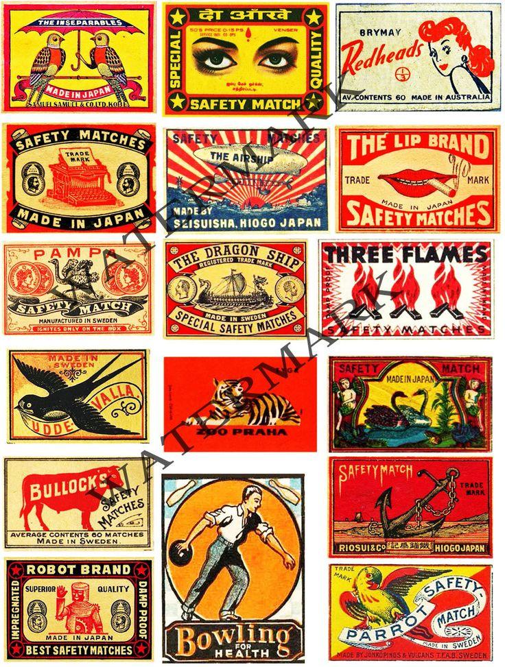 Vintage Safety Match, Matchbook Clip Art, SCRAPBOOK