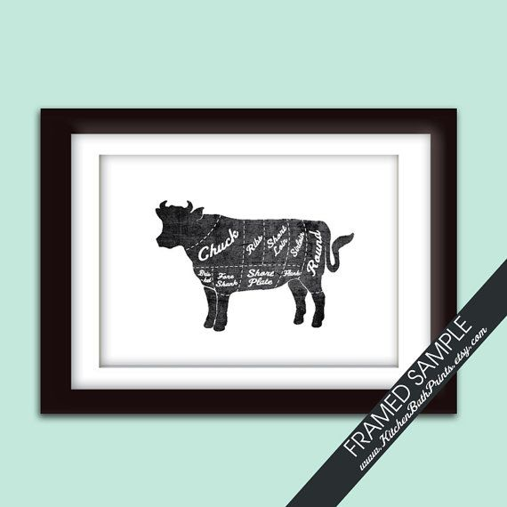 BEEF (Butcher Diagram Series) - 5x7 Art Print (Featured in Vintage Chalkboard and White) Customizable Kitchen Prints