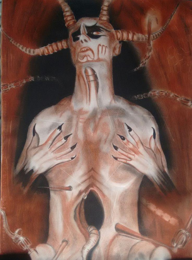 """Pintura """"Diabolis Interium"""" (Dark Funeral) - 70cm x 50cm - Carboncillo y Sanguina."""