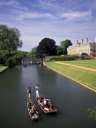 U.K. Punting on the College Backs, the Clare Bridge in the background, Cambridge, England