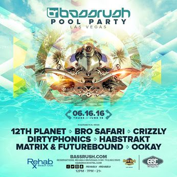 Bassrush Pool Party Las Vegas | Bassrush bassrush.com #TeamBassrush, we are back with our annual EDC Week pool party at Rehab Las Vegas on Thursday, June 16! Bassrush presents: Bassrush Pool Party Las Vegas 12th Planet Bro Safari Crizzly Dirtyphonics Habstrakt Matrix & Futurebound Ookay Rehab Las Vegas Hard Rock