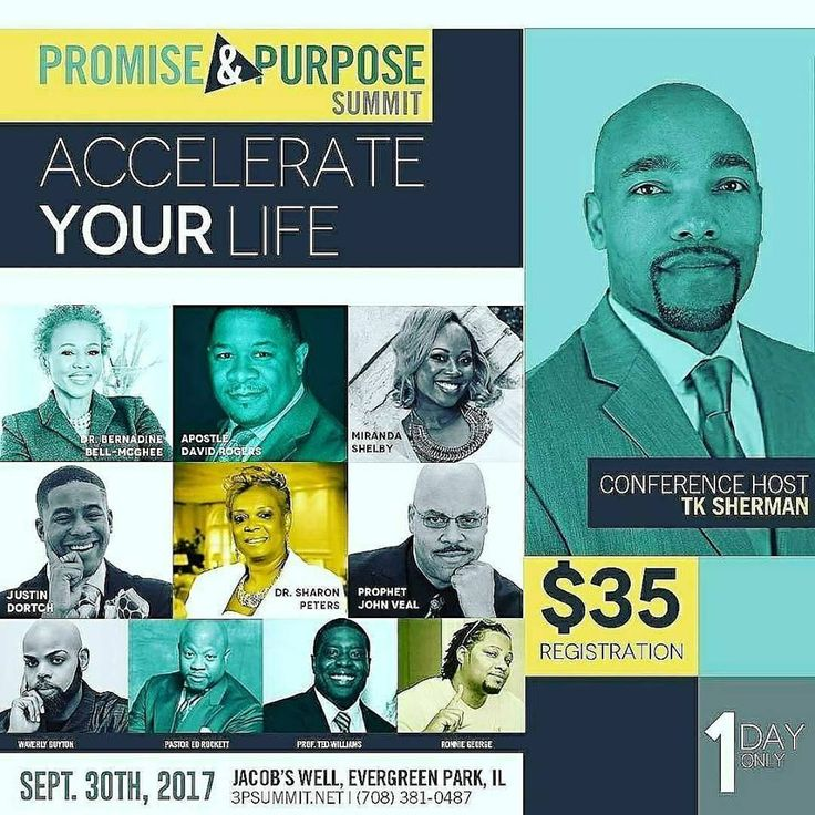 """You Are Invited to Find Breakthrough in Every Area of Your Life at the Prophetic """"Promise & Purpose Summit"""" where Your Wholeness is the Priority on Sept 30, 2017 from 10AM - 4PM ft Dr. Bernadine Bell-McGhee, Apostle David Rogers, Miranda Shelby, Justin Dortch, Dr. Sharon Peters, Prophet John Veal, Waverly Guyton, Pastor Ed Rocket, Prof. Ted Williams, Ronnie George and TK Sherman (Conference Host).  Registration is $35 (includes Lunch) to Register Visit: http://3psummit17.eventbrite.com…"""