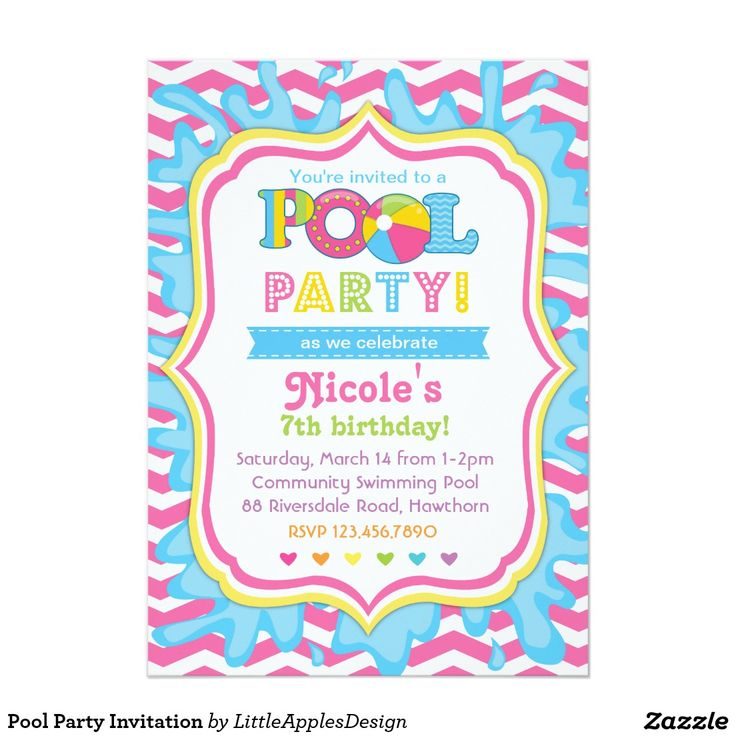 9 best Invites images – Kids Pool Party Invitation
