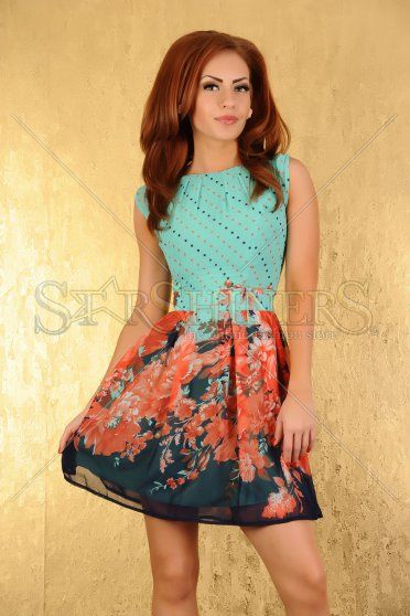 Rochie LaDonna Flower Story Turquoise
