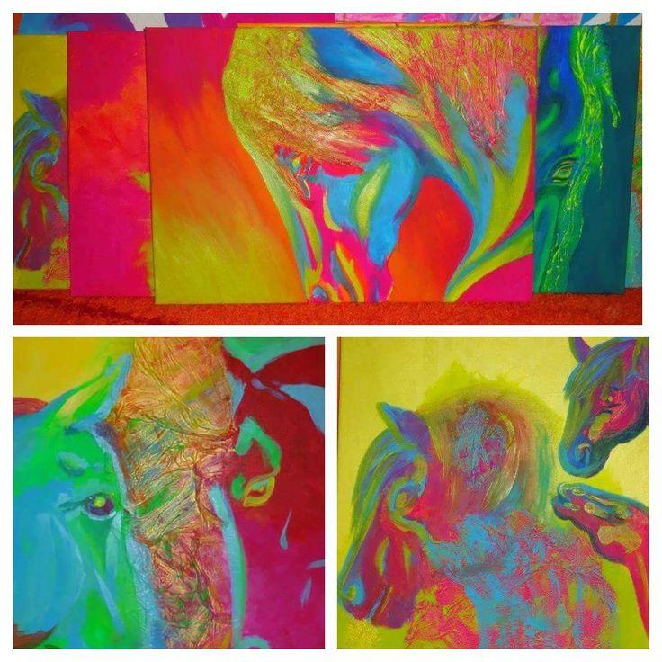 #horses #painting #neon #lo #lovak #festmény