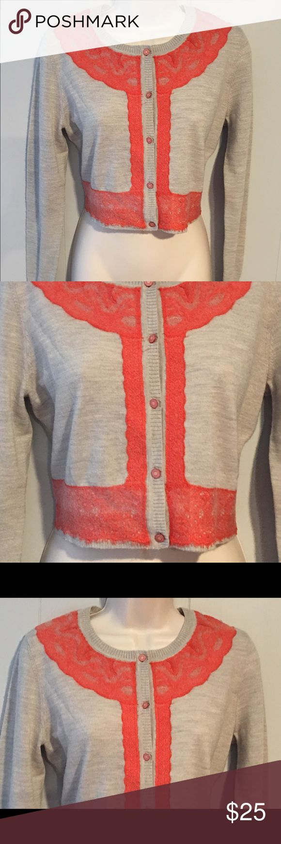 """Charlie & Robin Anthropologie cardigan sweater M Really pretty Charlie & Robin cropped cardigan size: medium in good preowned condition measurements with sweater lying flat on one side chest: 18"""" length 15"""" color: light gray and coral Anthropologie Sweaters Cardigans"""