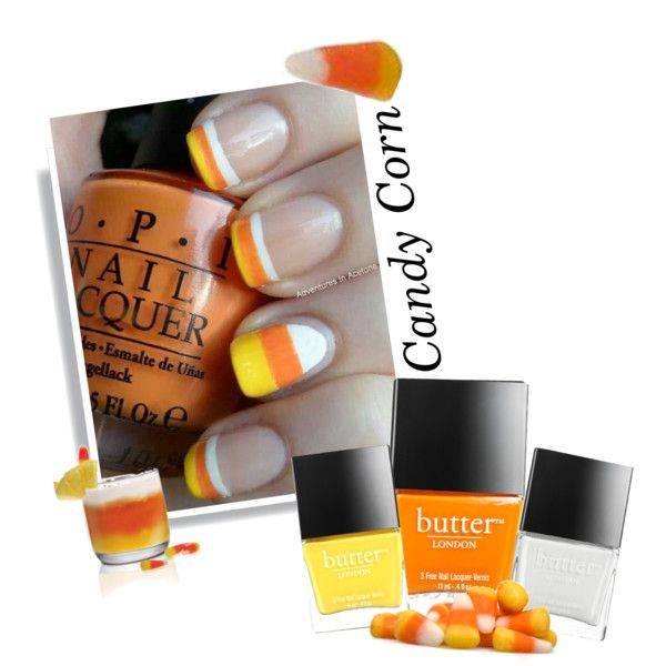 """Candy Corn Nails"" by texaspinkfox on Polyvore"
