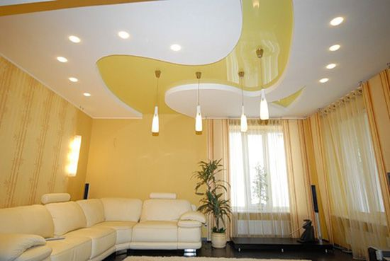 yellow stretch film for modern ceiling designs