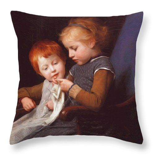 The Throw Pillow featuring the painting The Little Knitters by Anker Albert