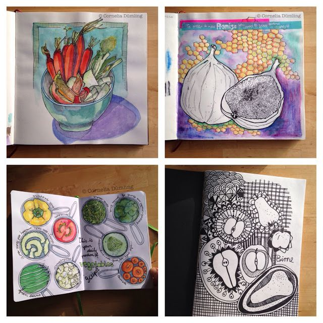 Cornelia Dümling's Food Sketchbooks as shared for Sketchbook Conversations on the My Giant Strawberry Blog