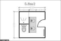 Petite salle de bain - Cloison entre douche et evier