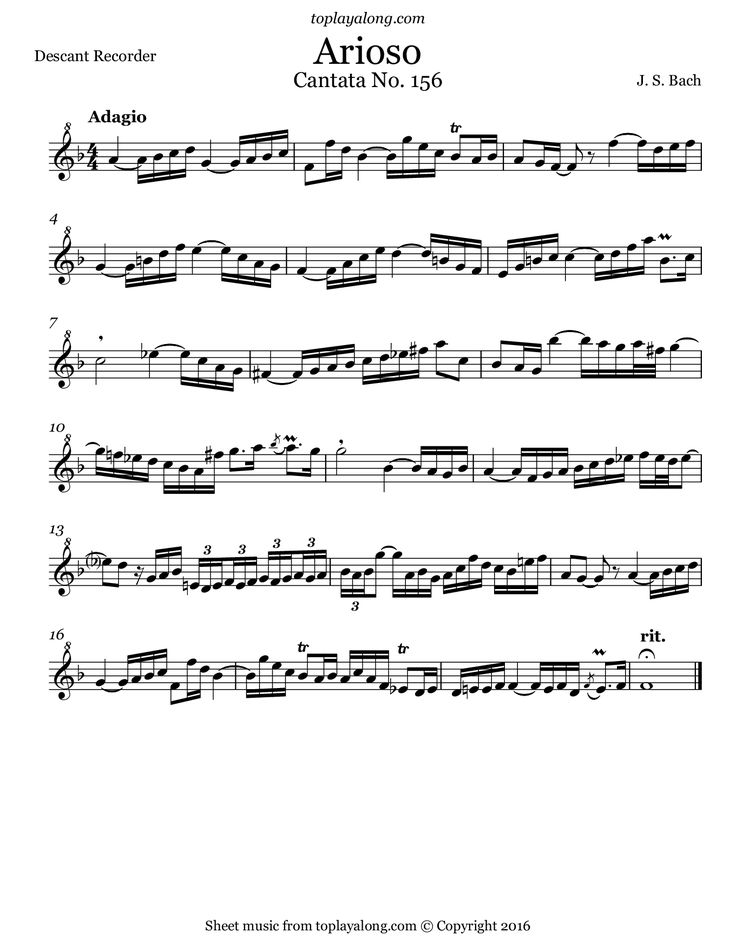 Arioso from Cantata BWV 156 by J. S. Bach. Free sheet music for recorder. Visit toplayalong.com and get access to hundreds of scores for recorder with backing tracks to playalong.