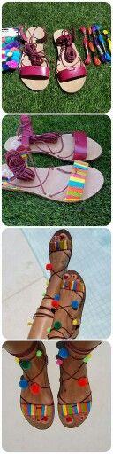 Mis sandalias de pompones...con hilos de colores, unas sandalias porronet burdeos y pompones del Tiger...
