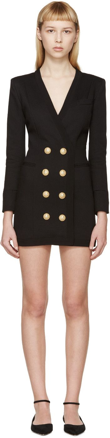 Balmain Black Suit Jacket Dress