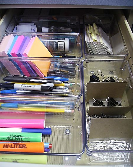 organized desk drawer - clear containers