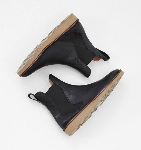 Maison Martin Marginal black waxed pull on boot